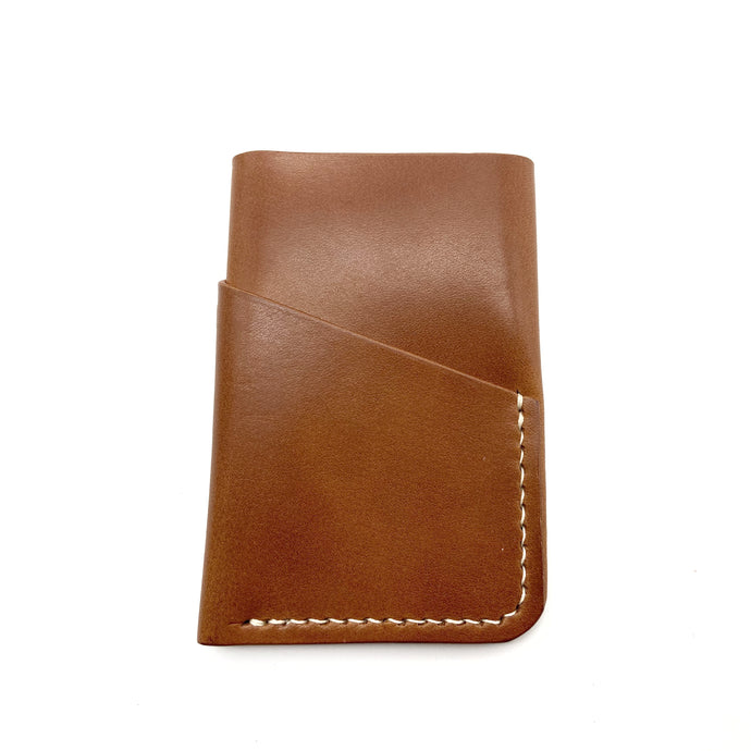 Brown  leather wallet 3 pockets/ hand sewn