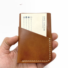 Load image into Gallery viewer, Brown  leather wallet , slim wallet card holder, personalized wallet