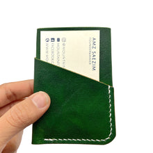 Load image into Gallery viewer, Hand-dyed Green leather wallet 3 pockets/ hand sewn
