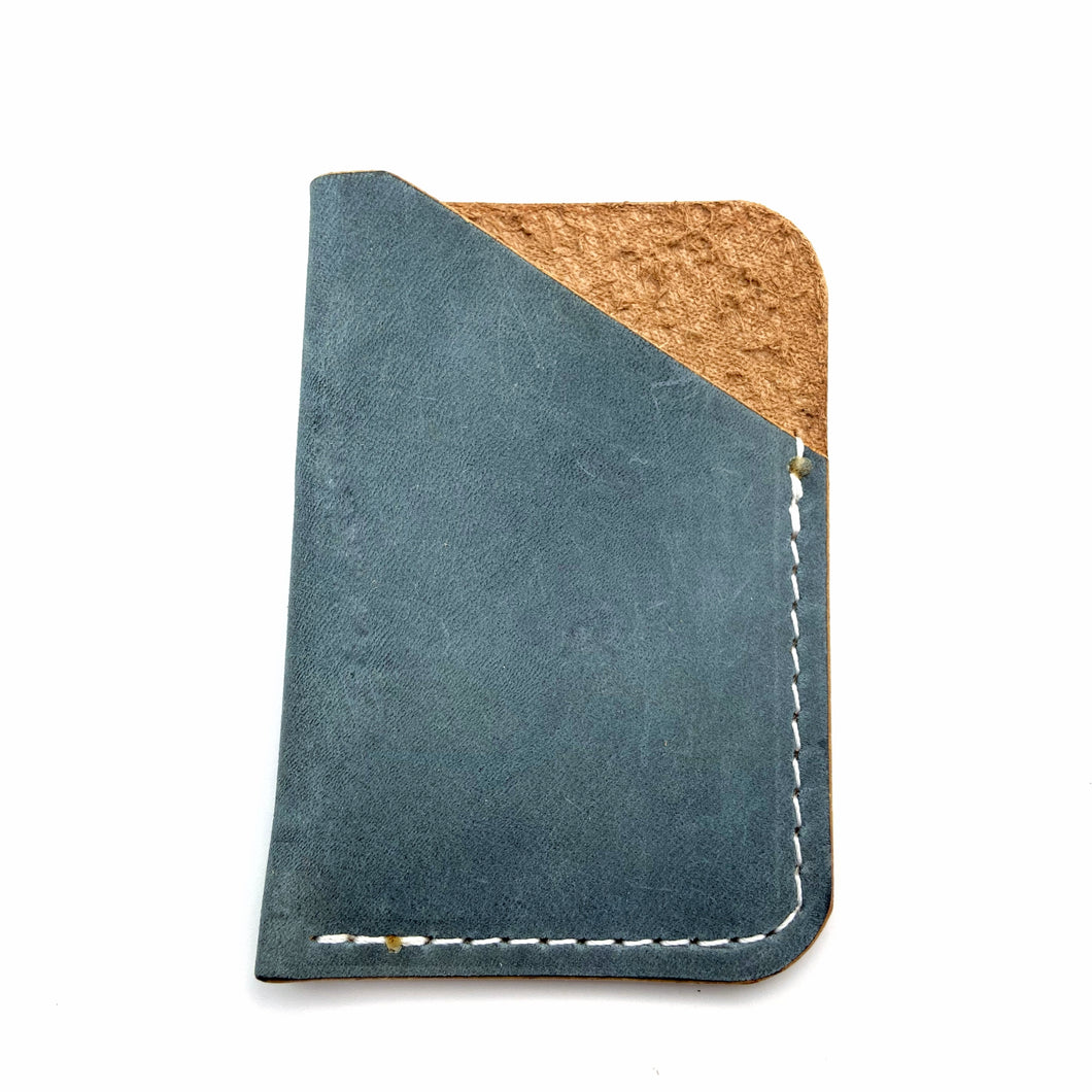 Blue  leather wallet 1 pockets