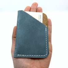 Load image into Gallery viewer, Blue  leather wallet , Personalized card holder, Business card holder , Card wallet