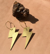 Load image into Gallery viewer, Metallic Gold Lightening  leather earrings
