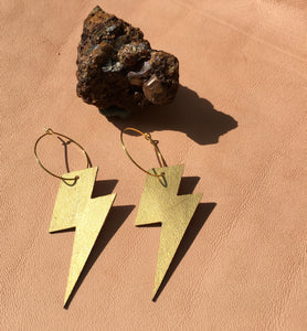 Metallic Gold Lightening  leather earrings