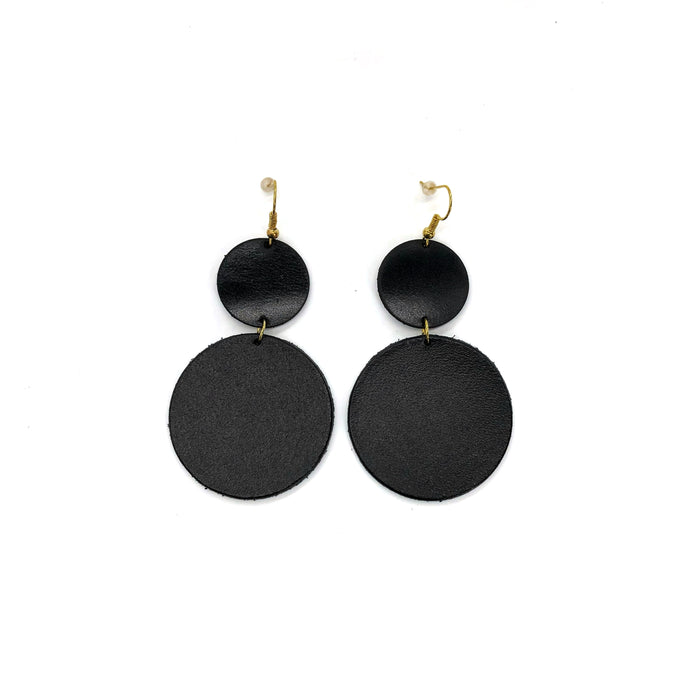 Moon Geometric Leather Earrings / Circle black  Earrings / Light weight earrings minimalist