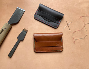Minimalist slim leather wallet/ card holder/ Mountain Fox Goods