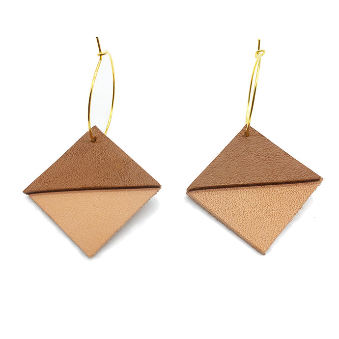 Geometric Leather Earrings / Triangle Earrings / Light weight earrings minimalist