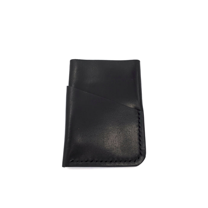Black leather wallet 3 pockets/ hand sewn