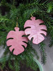 Monstera leaf Leather Earrings / Lightweight earrings