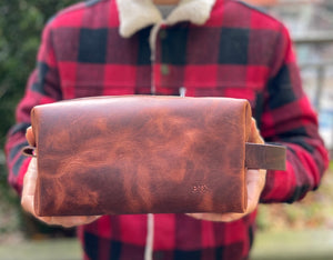 Rustic brown leather dopp kit, shave bag