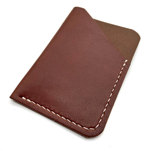Dark brown leather wallet , Business card holder case , Personalized card wallet , Handmade wallet