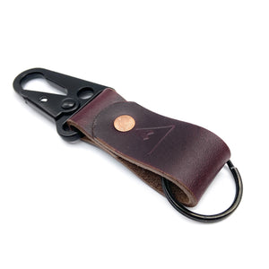 Leather keychain, Burgundy Horween Chromexcel, Personalized gift for him