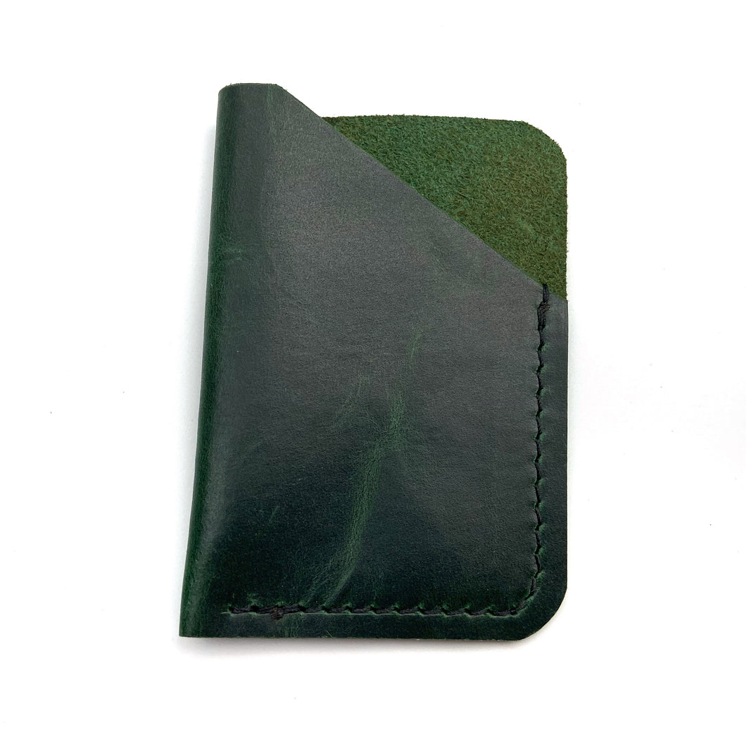 Green leather wallet , Personalized card holder, Business card holder , Card wallet