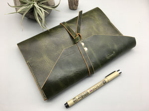 Personalized Rugged Green Leather Journal/ travel notebook