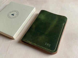 Rugged pine green Leather passport  holder