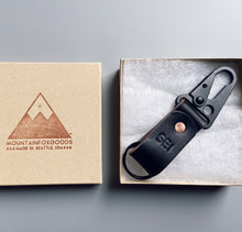 Load image into Gallery viewer, Mountain Fox Goods Black Leather Keychain, Horween Chromexcel, Personalized gift