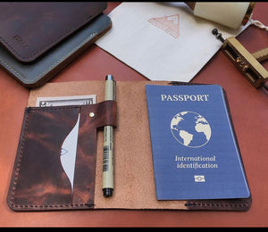Rugged rusty brown  Leather passport  holder