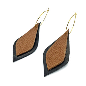 Leaf earrings/ Brown Black Leather Earrings / Dangle drop Earrings / Light weight earrings minimalist