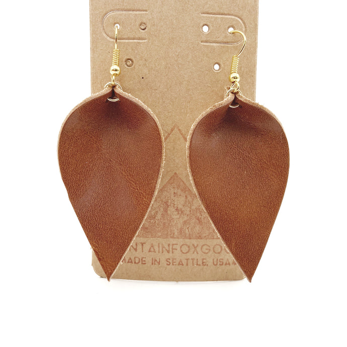 Brown Leather Leaf Earrings