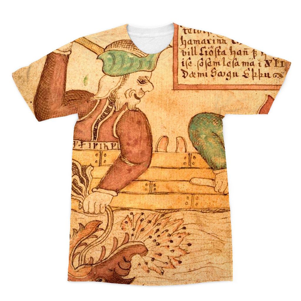 Thor and Hymir go fishing for the Midgard Serpent Sublimation T-Shirt