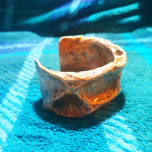 Yggdrasil Tree Bark Nature Hammered Copper Cuff Bracelet (Pagan, Heathen, Viking, Boho)