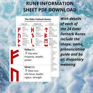 Elder Futhark Rune Information Sheet (Digital PDF Format) Norse, Viking, Heathen, Pagan, Tarot