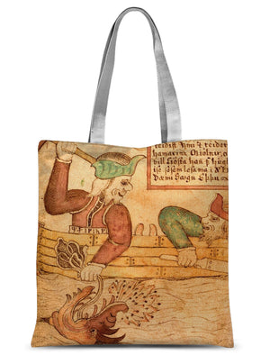 Thor and Hymir go fishing for the Midgard Serpent Sublimation Tote Bag