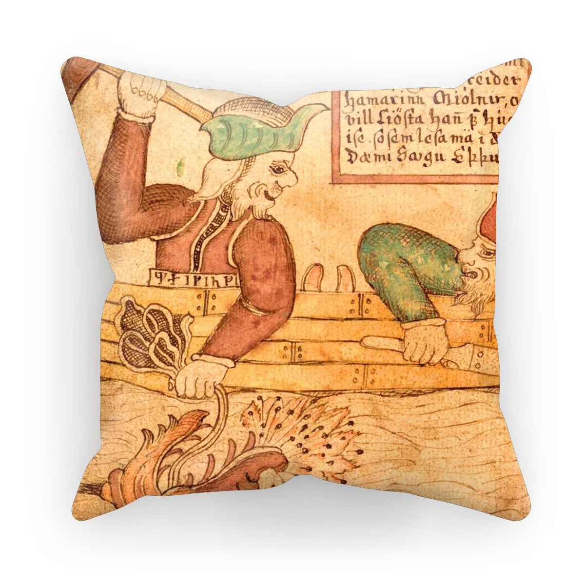 Thor and Hymir go fishing for the Midgard Serpent Cushion