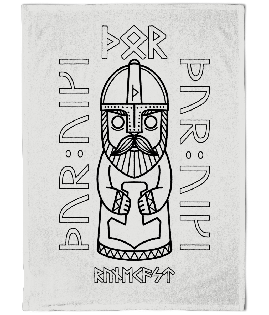 Thor Tea Towel - Cotton Dish Towel - Viking Thunder God