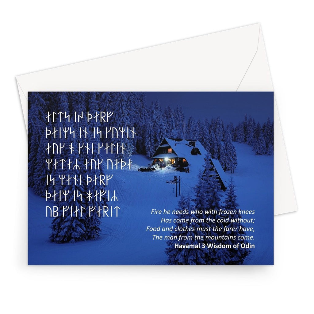 Viking Yule Greeting Card - Wisdom of Odin Havamal Verse 3