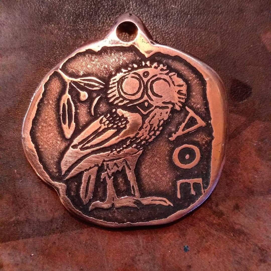Owl Of Athena/Minerva Pendant based on an ancient greek coin Bubo