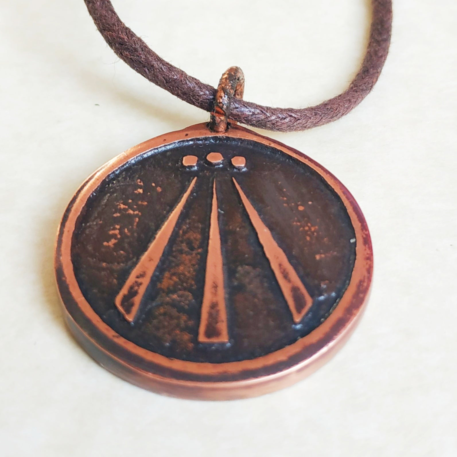 Druid Awen Pendant Necklace Heavy Pure Copper Ovate Bard Jewellery