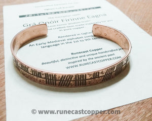 """Love Honour Wisdom Truth"" Celtic Ogham Druid Cuff Bracelet in copper"