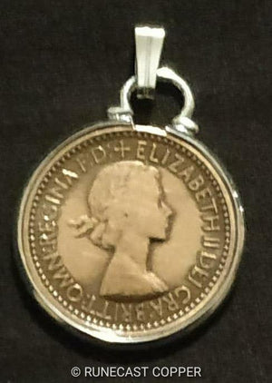 "Jenny Wren Farthing Pendant, Old British Coin Necklace,18"" Sterling Silver Chain"