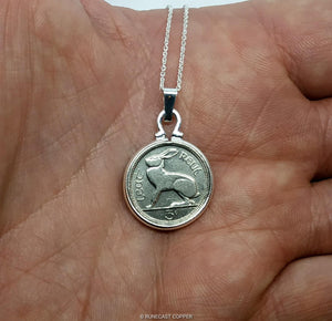 "Irish Hare Three Pence Coin Pendant, Old Irish Thruppence Coin Necklace,18"" Sterling Silver Chain"