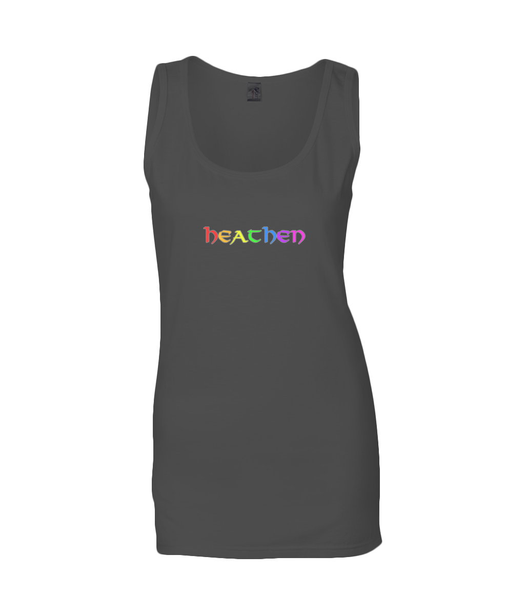 Asatru UK Heathen Pride Gildan Ladies SoftStyle® Tank Top Heathen Rainbow T Shirt