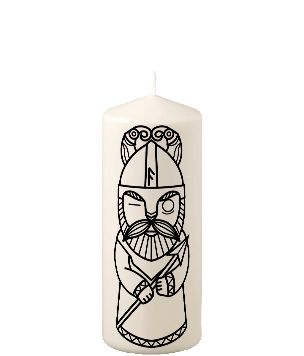 Viking God Odin Pillar Candle