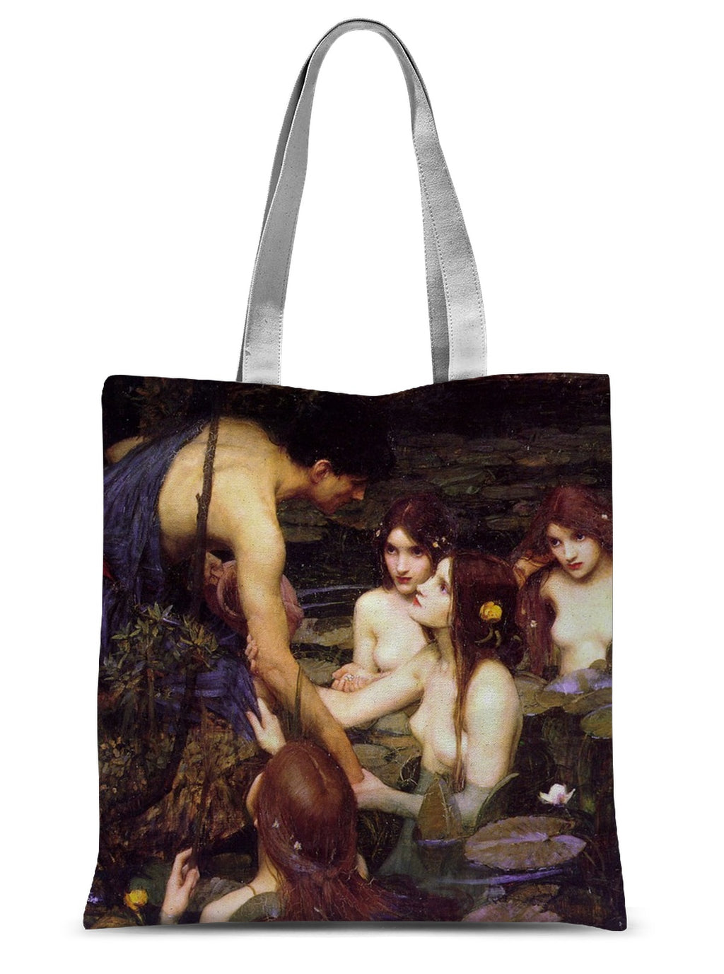 Hylas and the Nymphs  by John William Waterhouse Sublimation Tote Bag