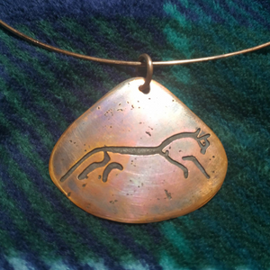 White Horse Pendant in Copper. Uffington Ancient Britain, Celtic Bronze Age
