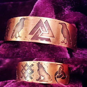 The Legends of Odin Armband Cuff Bracelet available in Bronze or Copper (rune, viking, Norse)