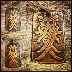The Aarthus Mask (Odin's Mask) Pendant in Copper-Homage to the death of the Viking age Warrior