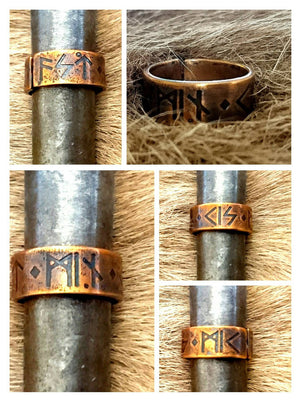 Kiss Me, My Love Ring - Viking, Norse, Elder Futhark Rune Inscription Love Poetry. Pagan Heathen Wedding Handfasting Copper Bronze Brass