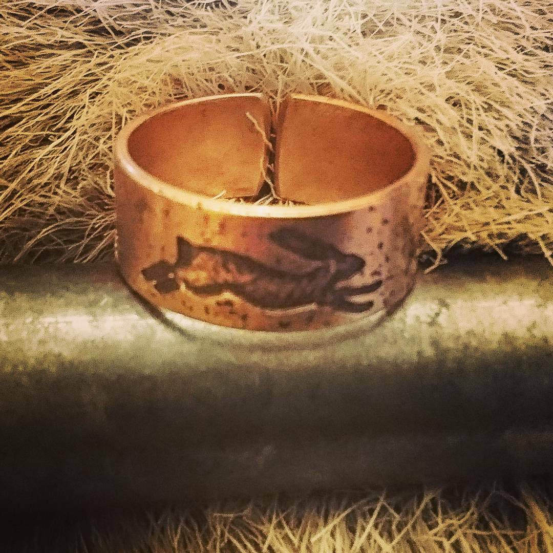 Spirit of the Hare Ring featuring Running Hare- Open Ring in Copper, Brass Bronze - pagan, Wicca, druid, heathen, nature