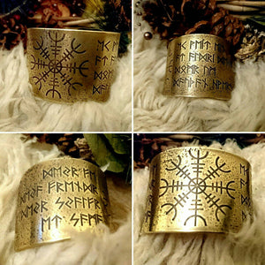 Havamal Stanza 77/Helm of Awe  Armband/Cuff Bracelet (S/M or L/XL in Brass, Copper or Bronze)