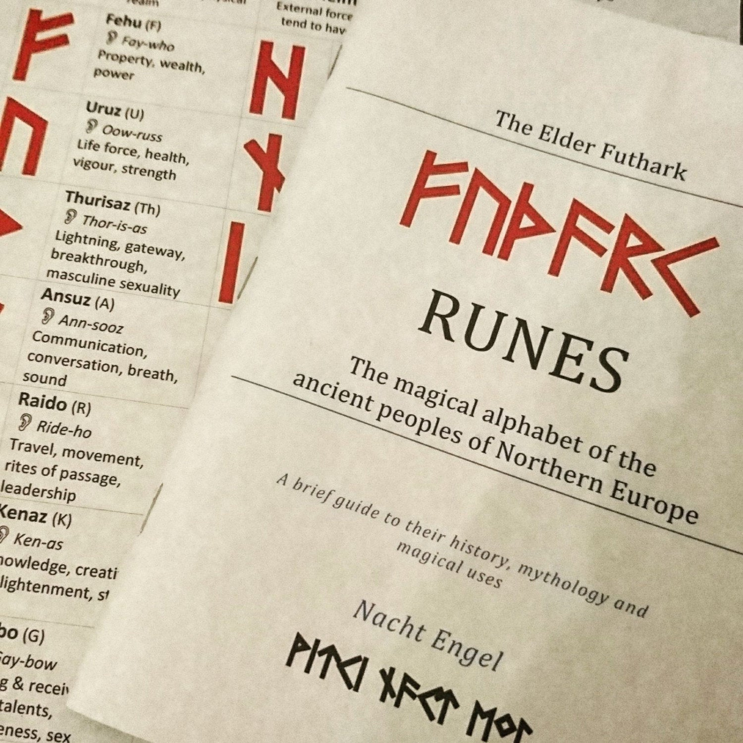 Elder Futhark Runes Complete Kit (wooden runes, bag, casting cloth, cord, guide book and info-sheet)