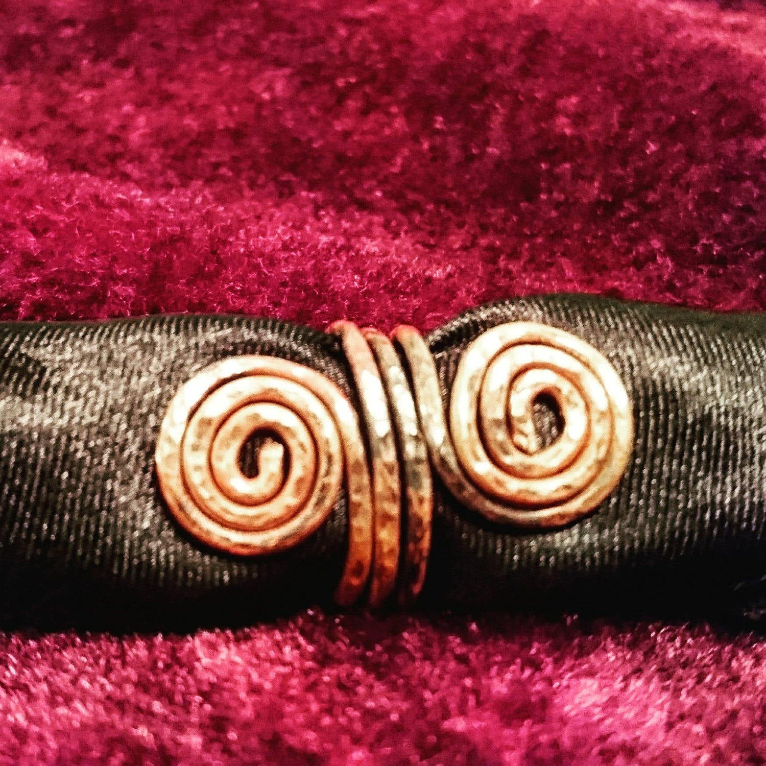 Beautifully Hammered Spiral and Serpent Rings in Copper