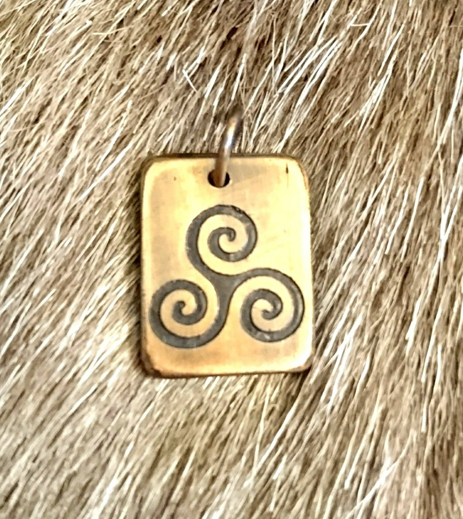 Celtic Triskele Copper Pendant