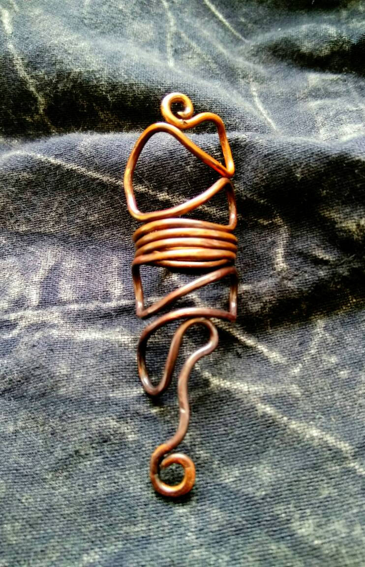 Serpent Snake Spiral Ring (pagan, viking, heathen, Boho) copper bronze