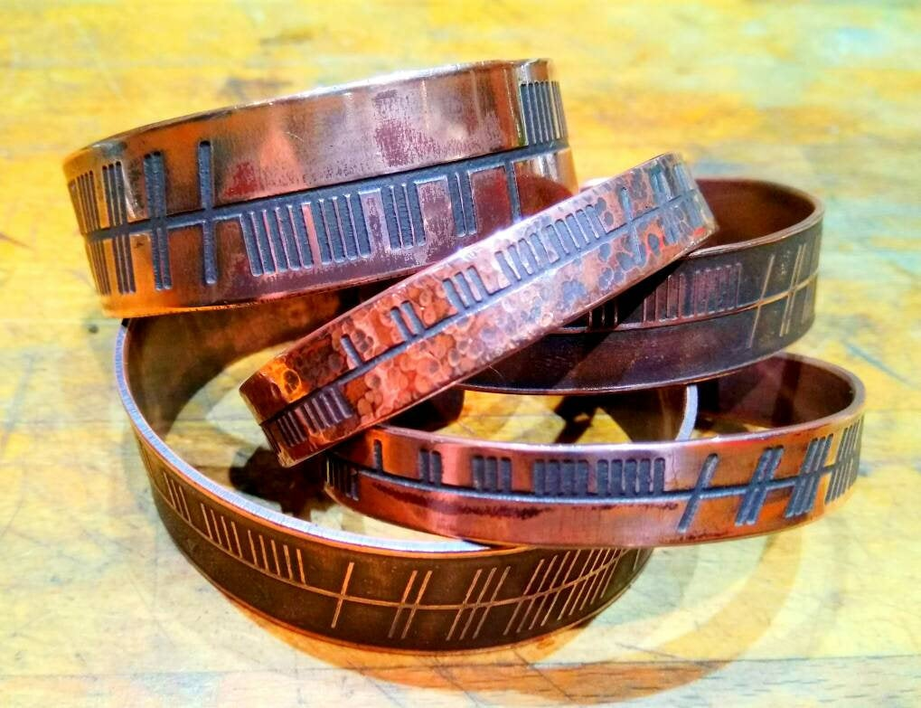 Personalised Inscription Irish/Celtic Ogham Druid Cuff Bracelet in copper or brass