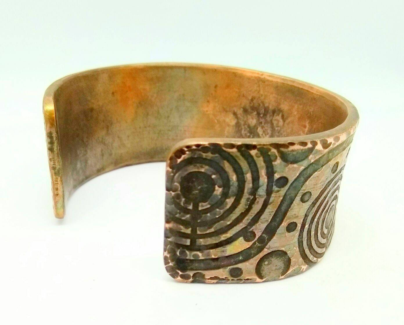 Rock Art Cuff Bracelet (Cup and Ring, Petroglyph,Copper,Brass)