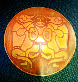 Tyr/Tiw God of War and Wolves Copper Plaque